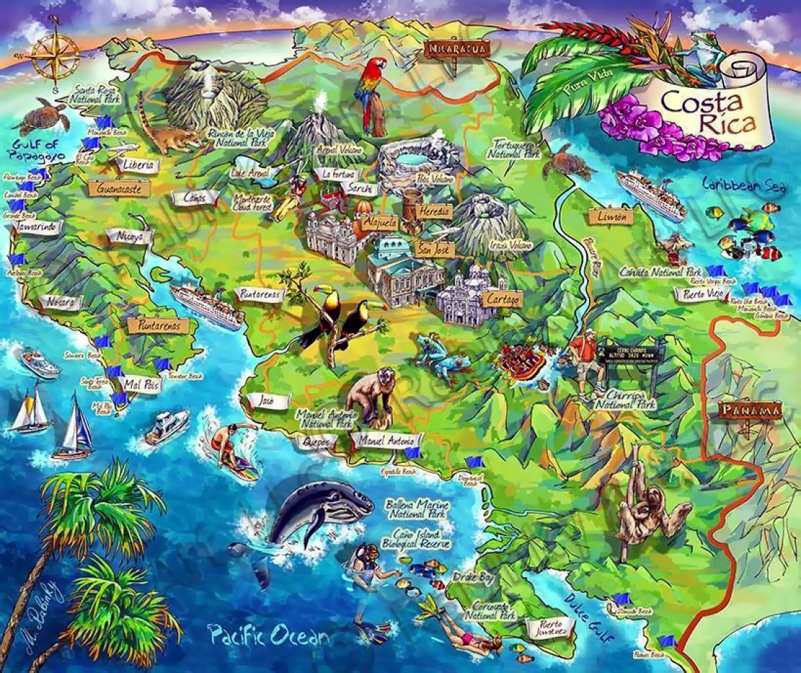 Detailed tourist illustrated map of Costa Rica | Costa Rica | North on