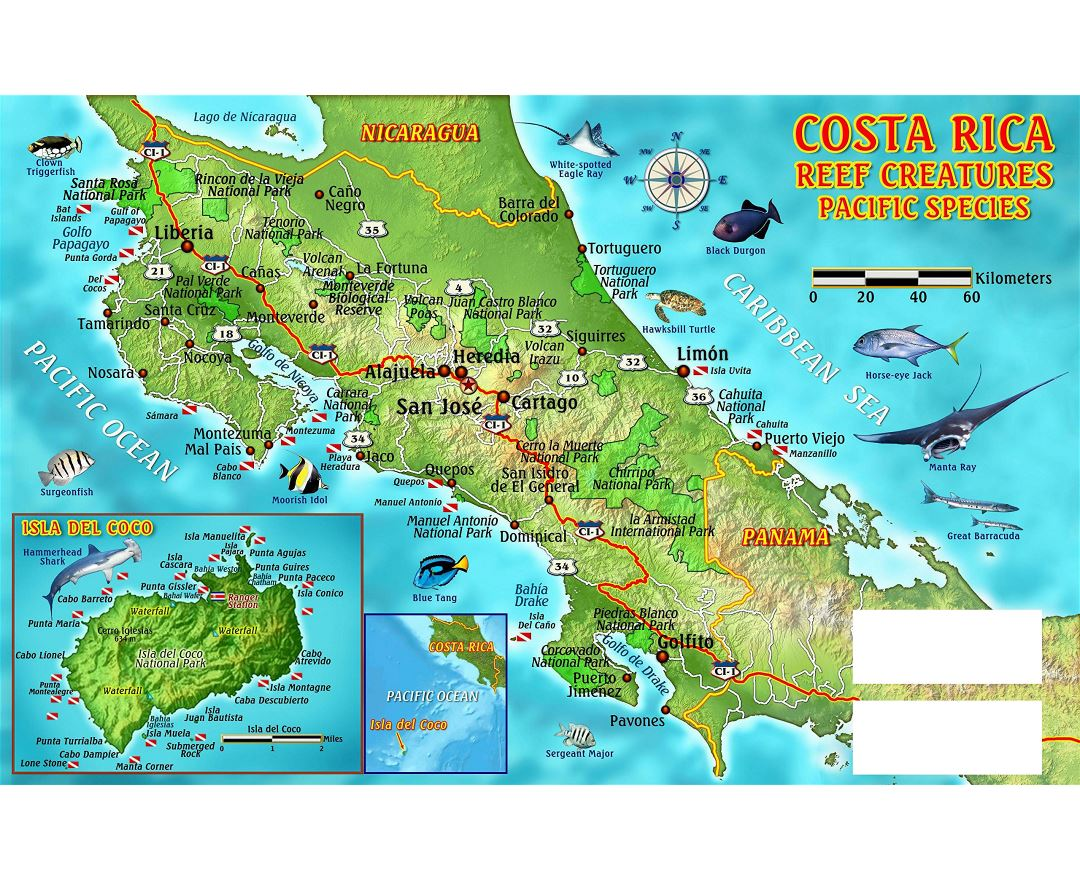 Large detailed dive map of Costa Rica