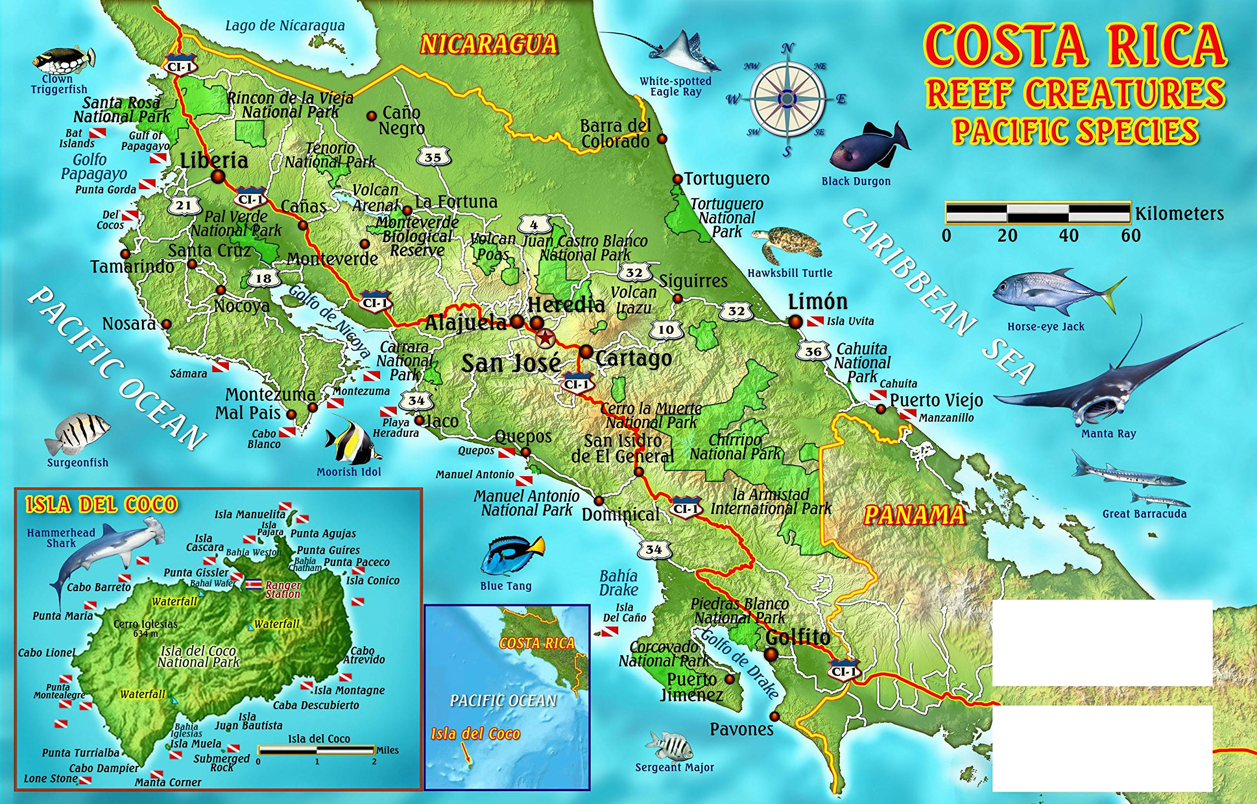 Large detailed dive map of Costa Rica | Costa Rica | North America ...