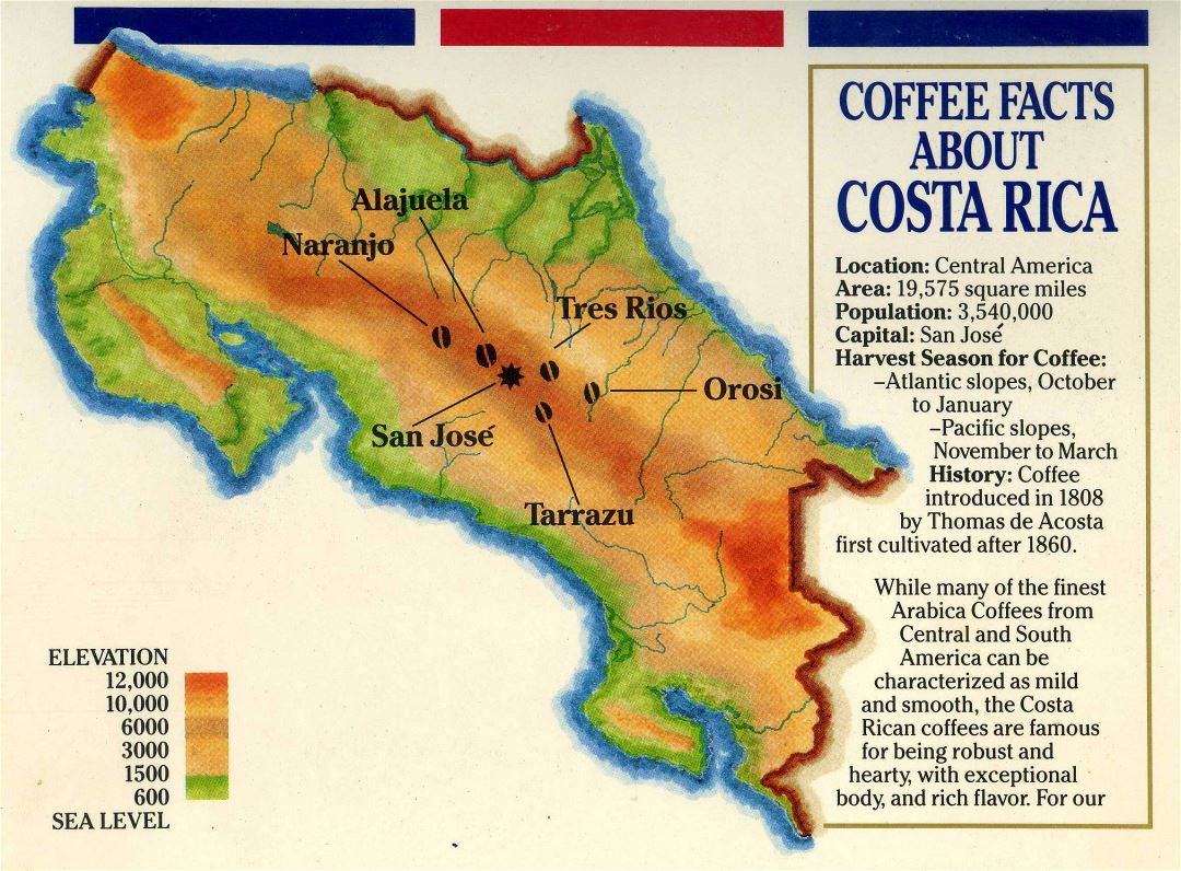 Large detailed elevation and coffee map of Costa Rica