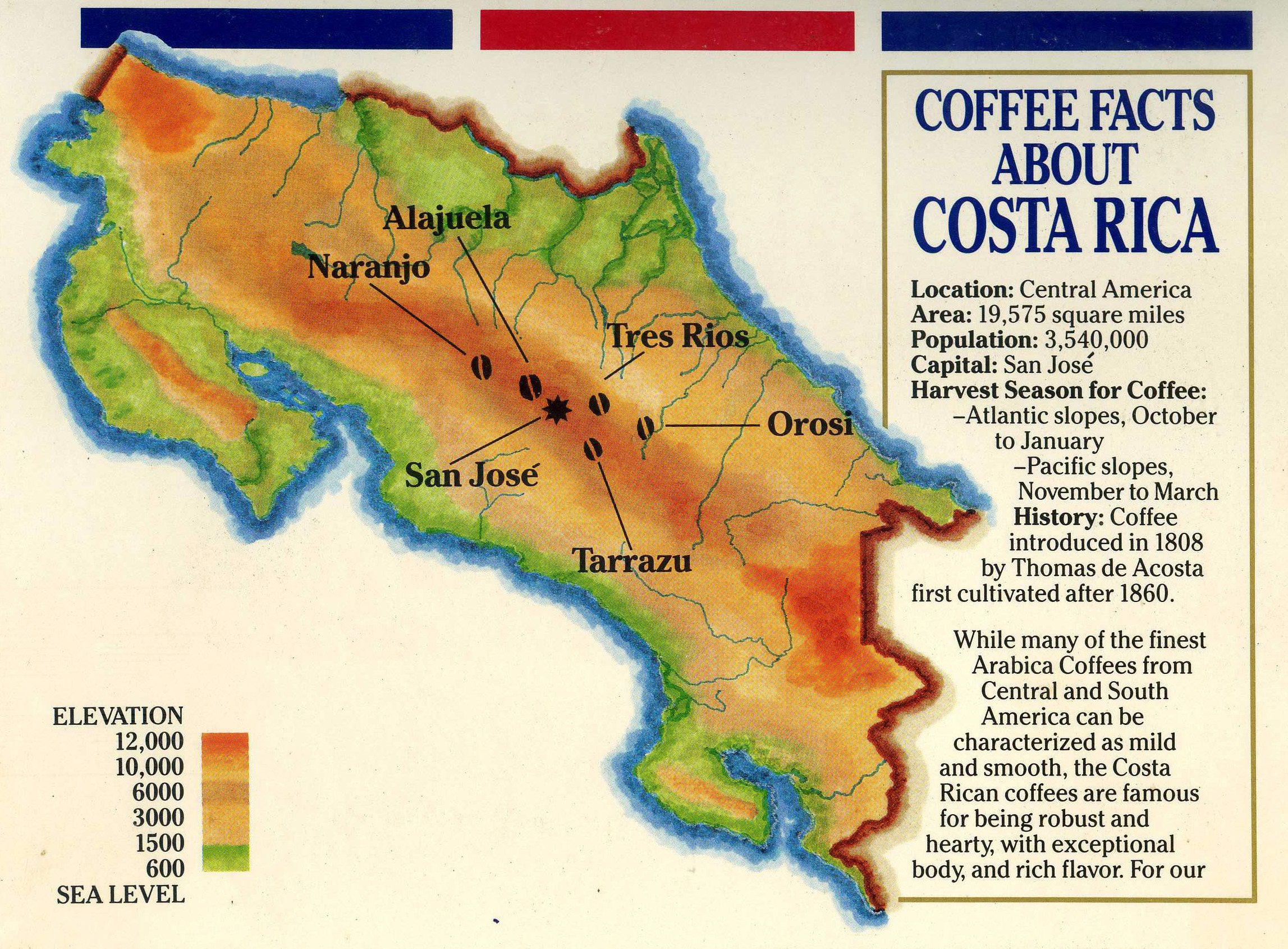 Large Detailed Elevation And Coffee Map Of Costa Rica Costa Rica North America Mapsland Maps Of The World