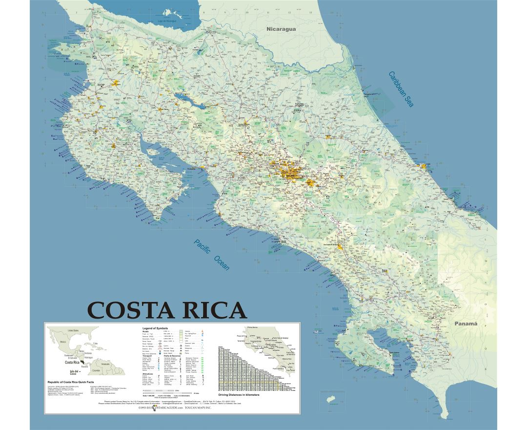 Large detailed map of Costa Rica