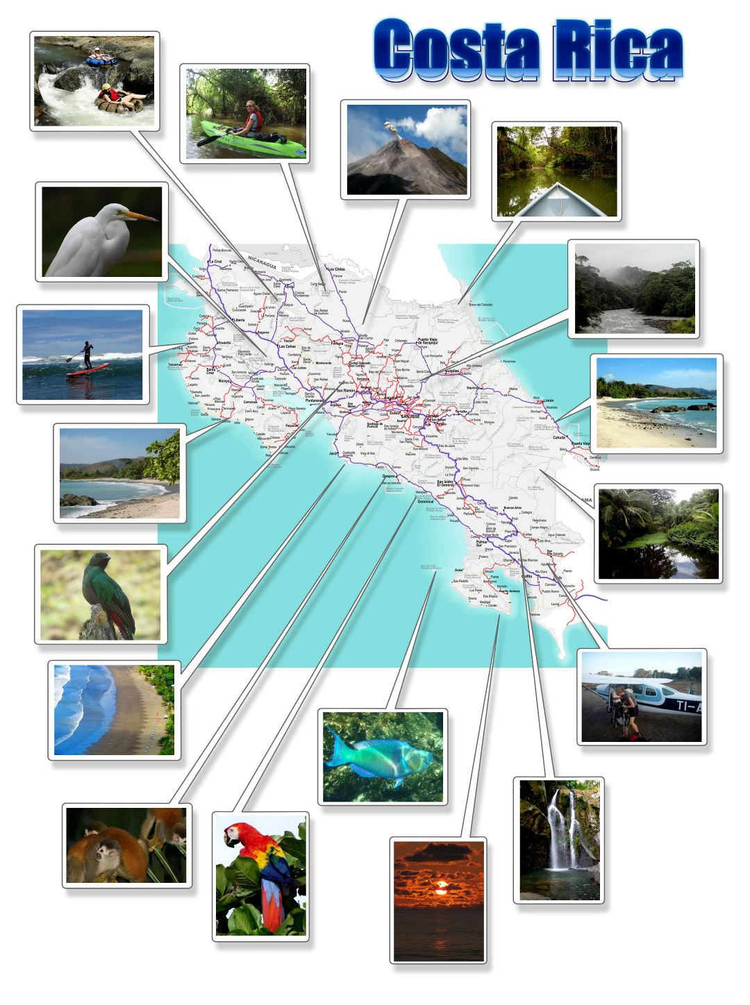 Large detailed map of Costa Rica with photos