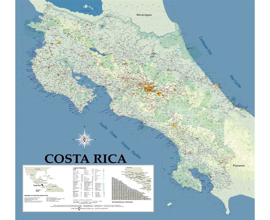 Large detailed map of Costa Rica with roads, cities, airports and other marks