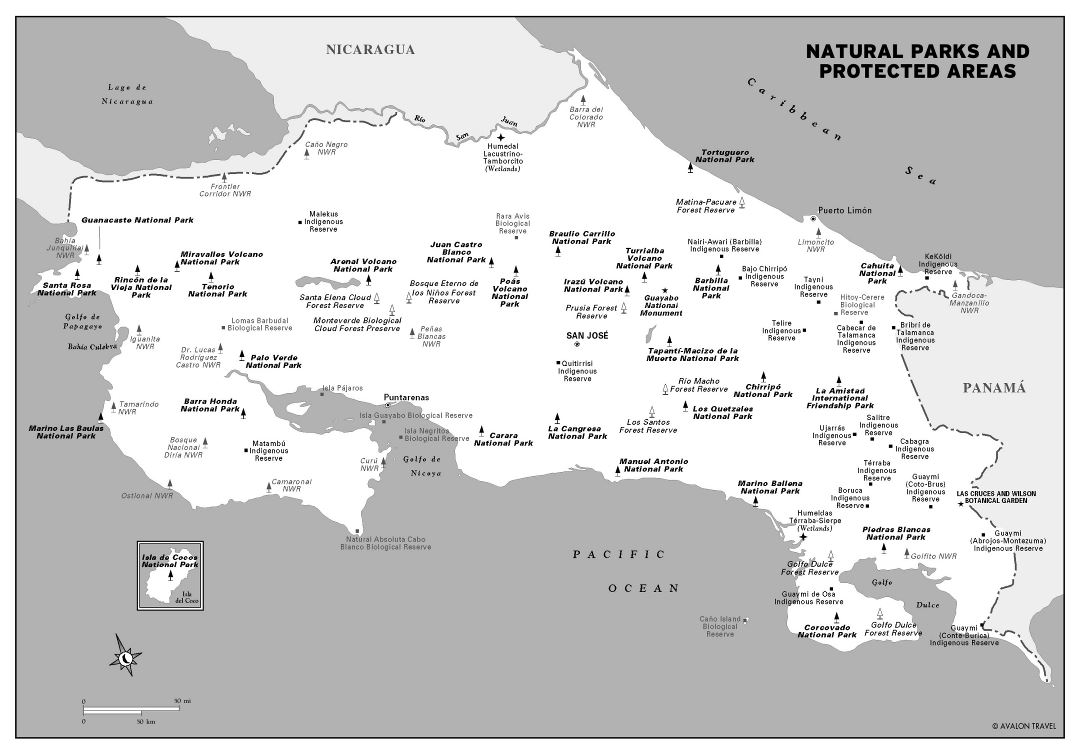 Large detailed natural parks and protected areas map of Costa Rica