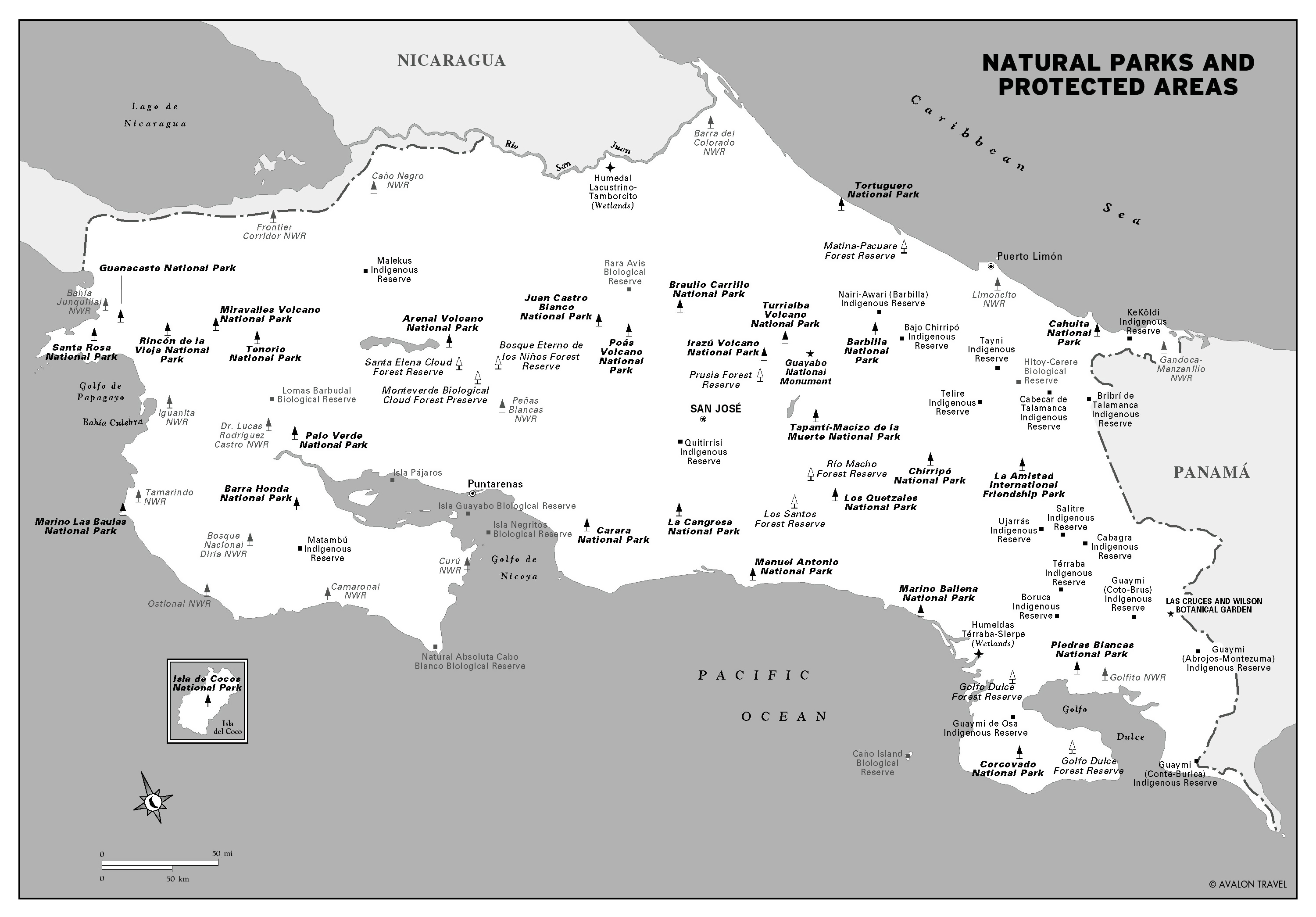 Large detailed natural parks and protected areas map of Costa Rica ...