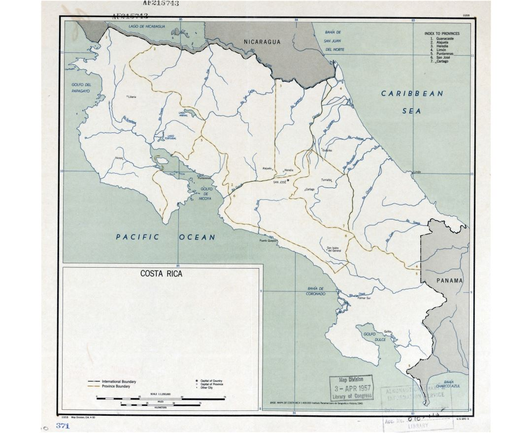Large detailed political and administrative map of Costa Rica with major cities - 1950