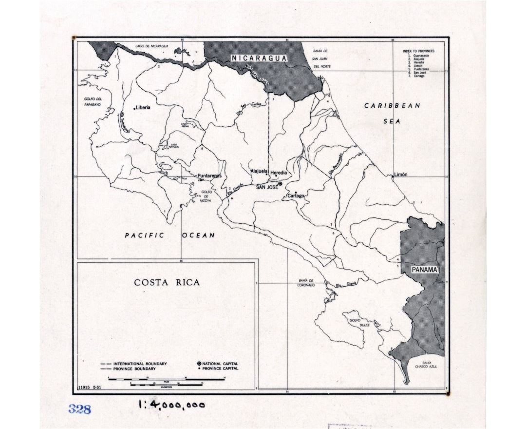 Large detailed political and administrative map of Costa Rica with major cities - 1951