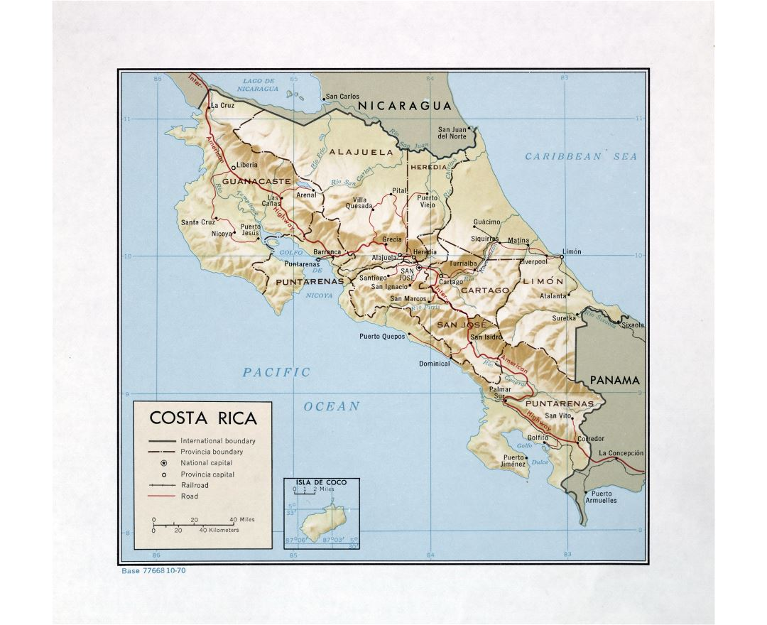 Large detailed political and administrative map of Costa Rica with relief, roads, railroads and major cities - 1970
