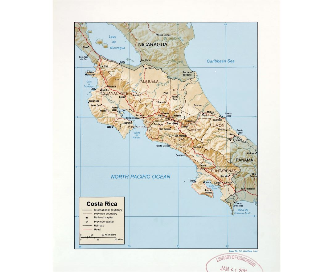 Large detailed political and administrative map of Costa Rica with relief, roads, railroads and major cities - 1987