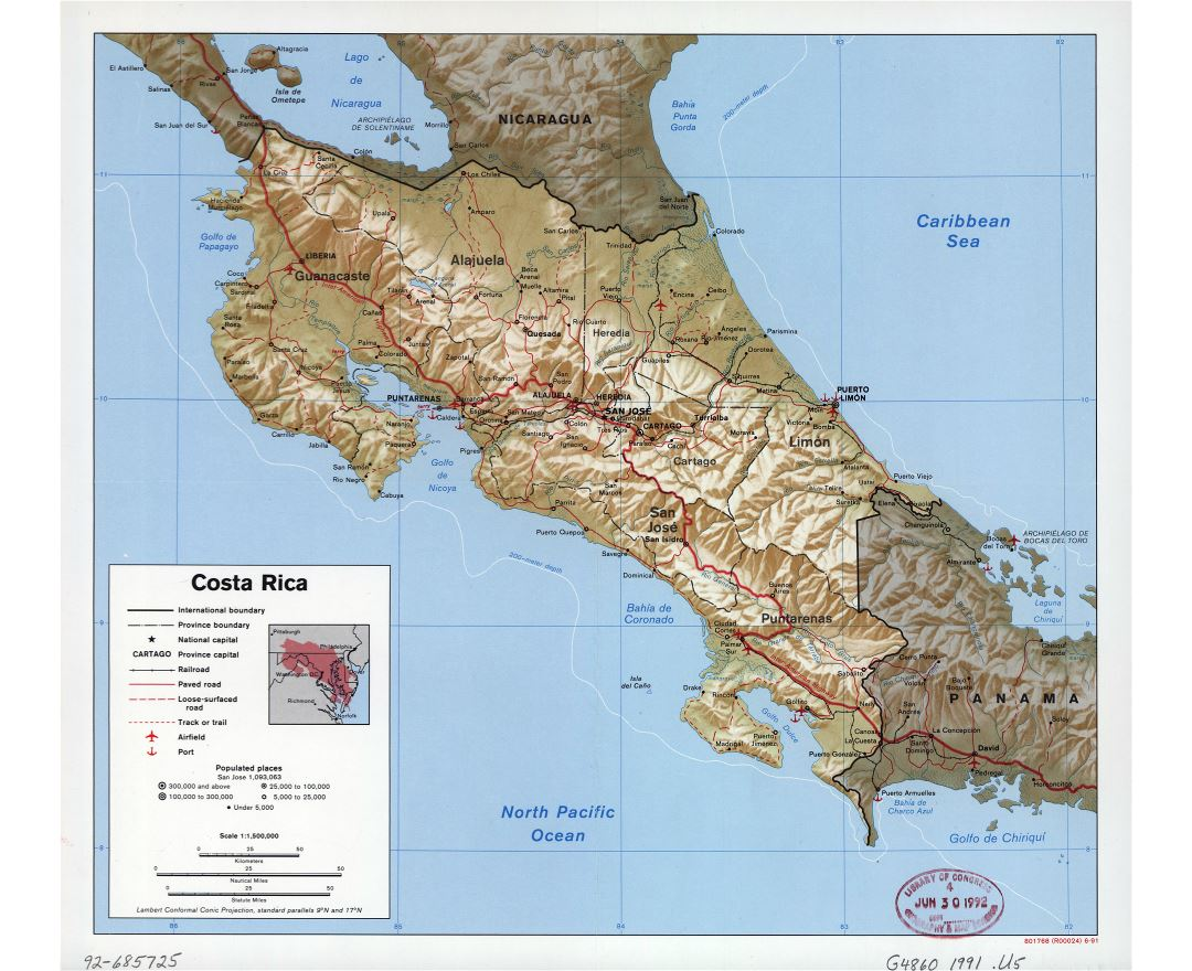 Large detailed political and administrative map of Costa Rica with relief, roads, railroads, major cities, ports and airports - 1991