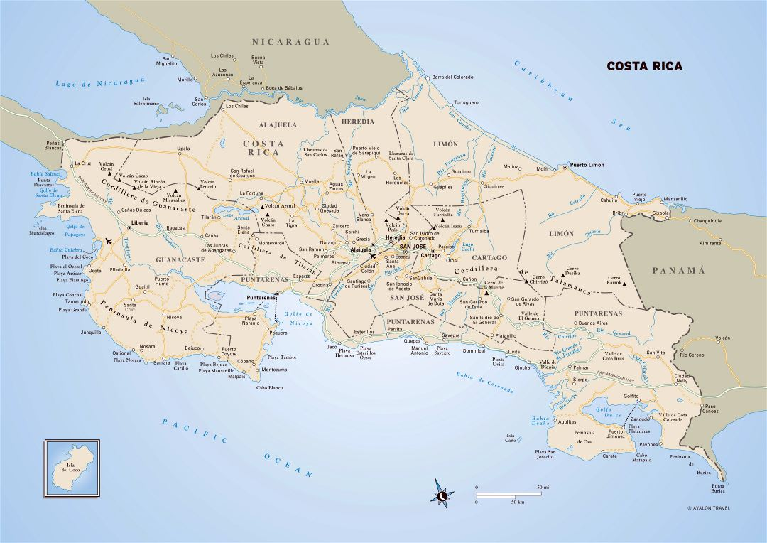 Large detailed political and administrative map of Costa Rica with roads, cities and airports