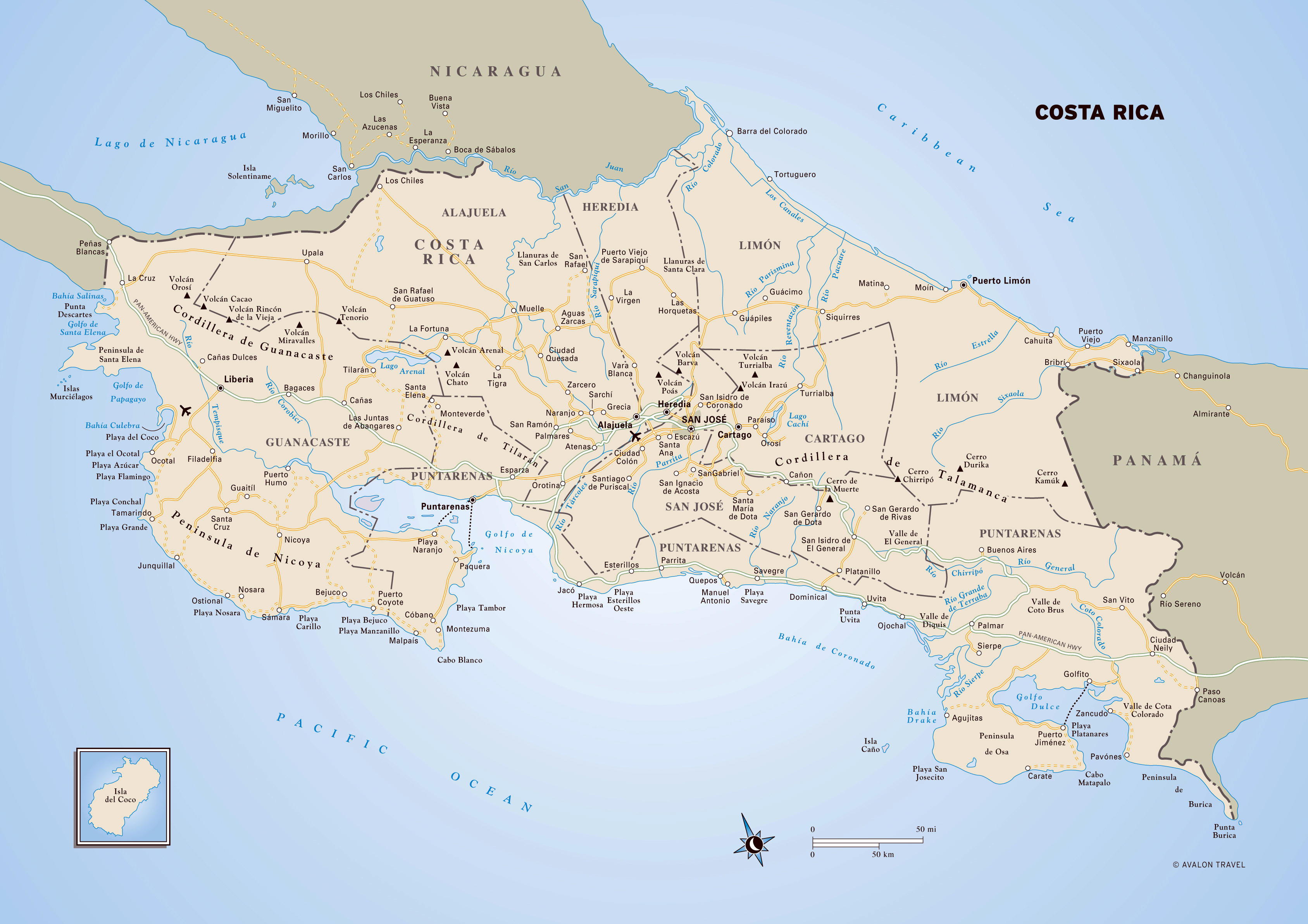 Large detailed political and administrative map of Costa Rica with