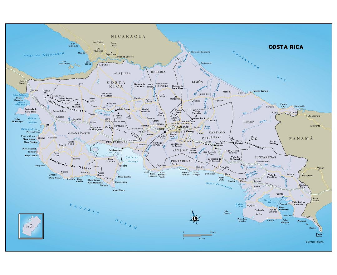 Large detailed political and administrative map of Costa Rica with roads, major cities and airports