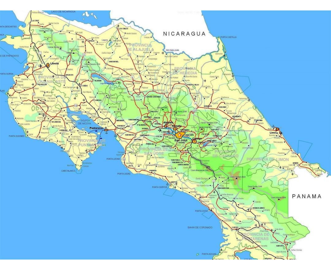 Large detailed road map of Costa Rica