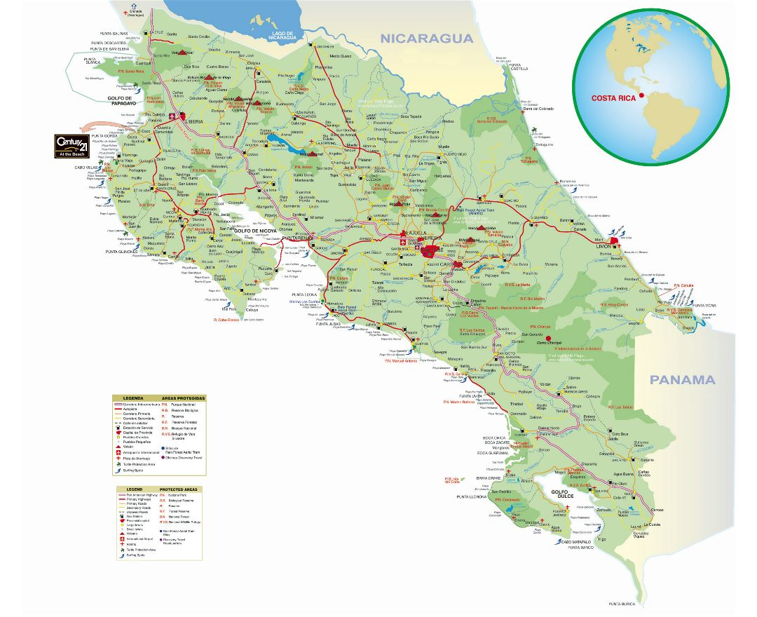 Large detailed road map of Costa Rica with cities, gas stations and other marks