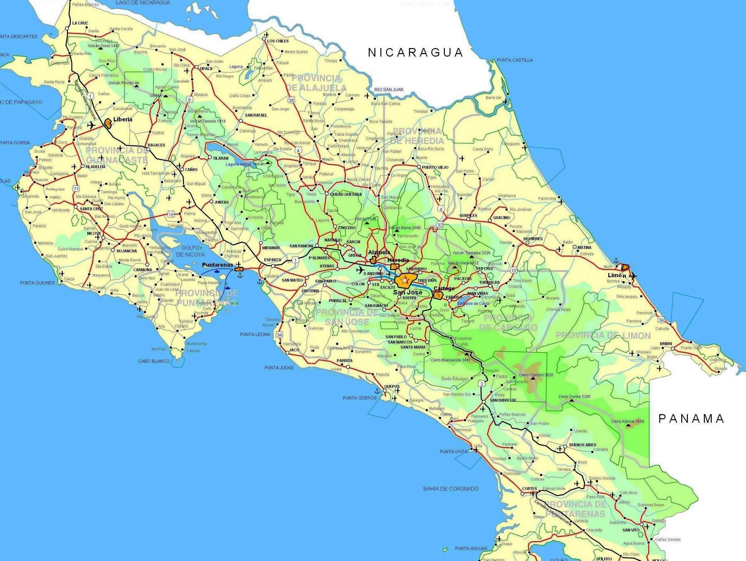 Map Of Costa Rica With All Cities