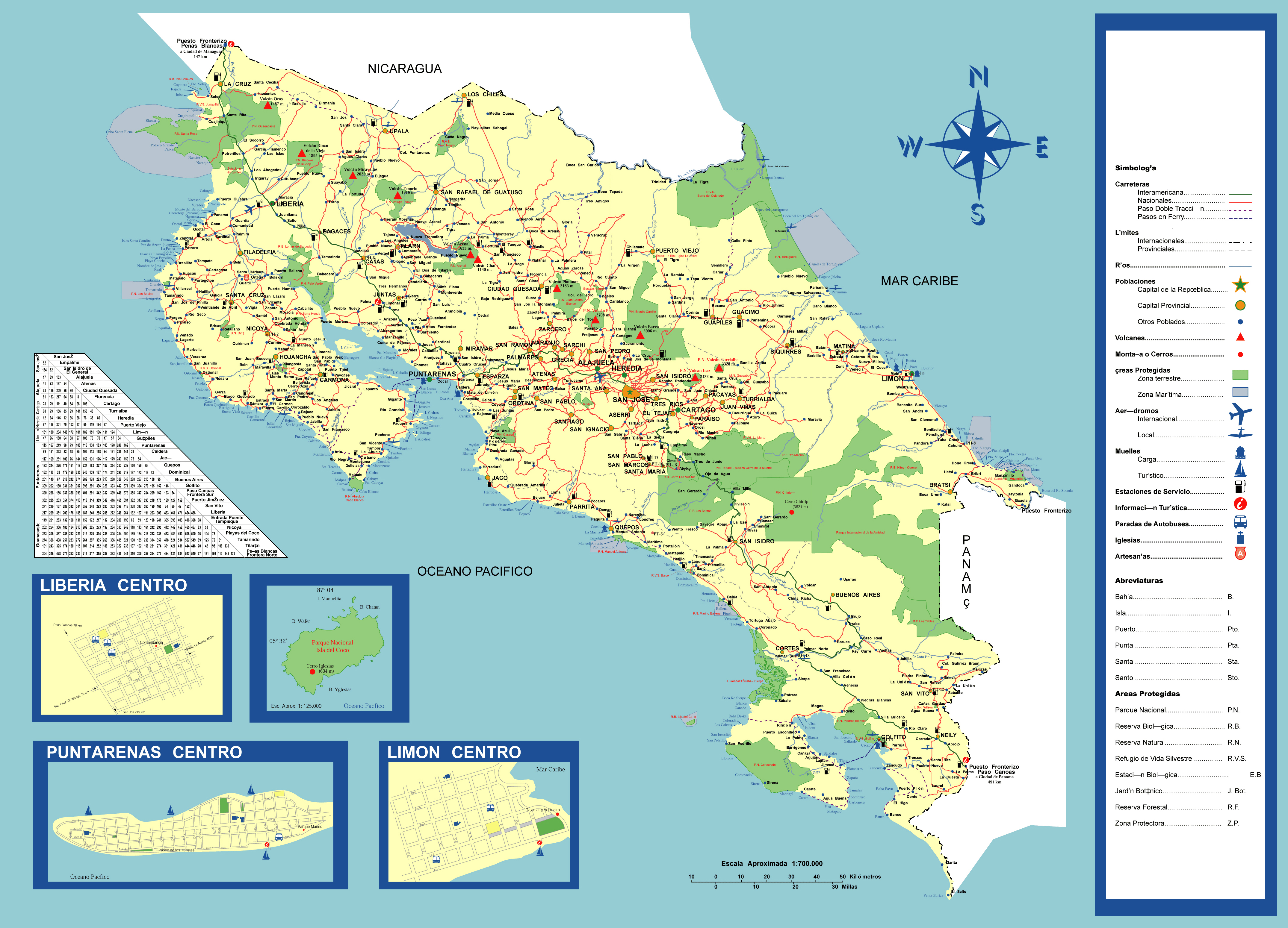 Large detailed travel map of Costa Rica Costa Rica North America