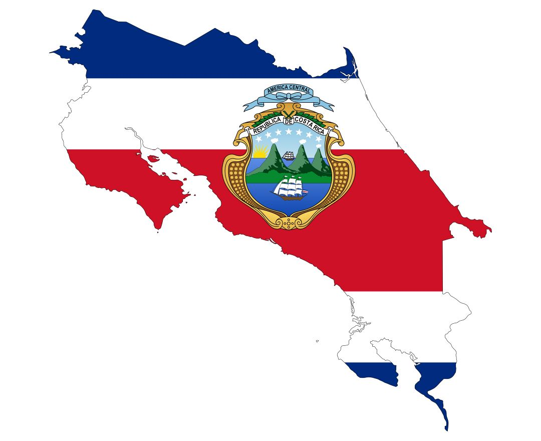 Large flag map of Costa Rica