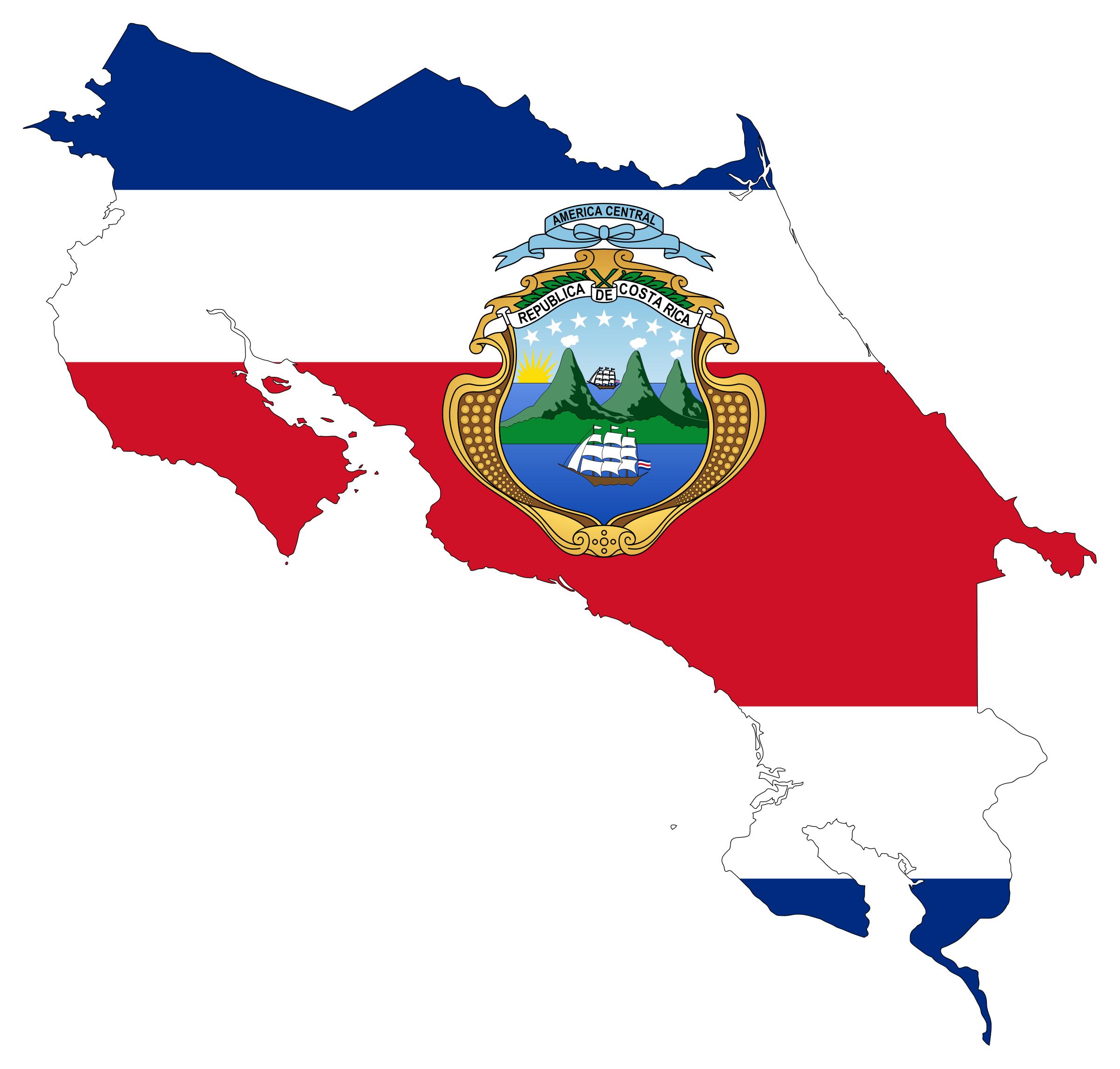 Large flag map of Costa Rica Costa Rica North America