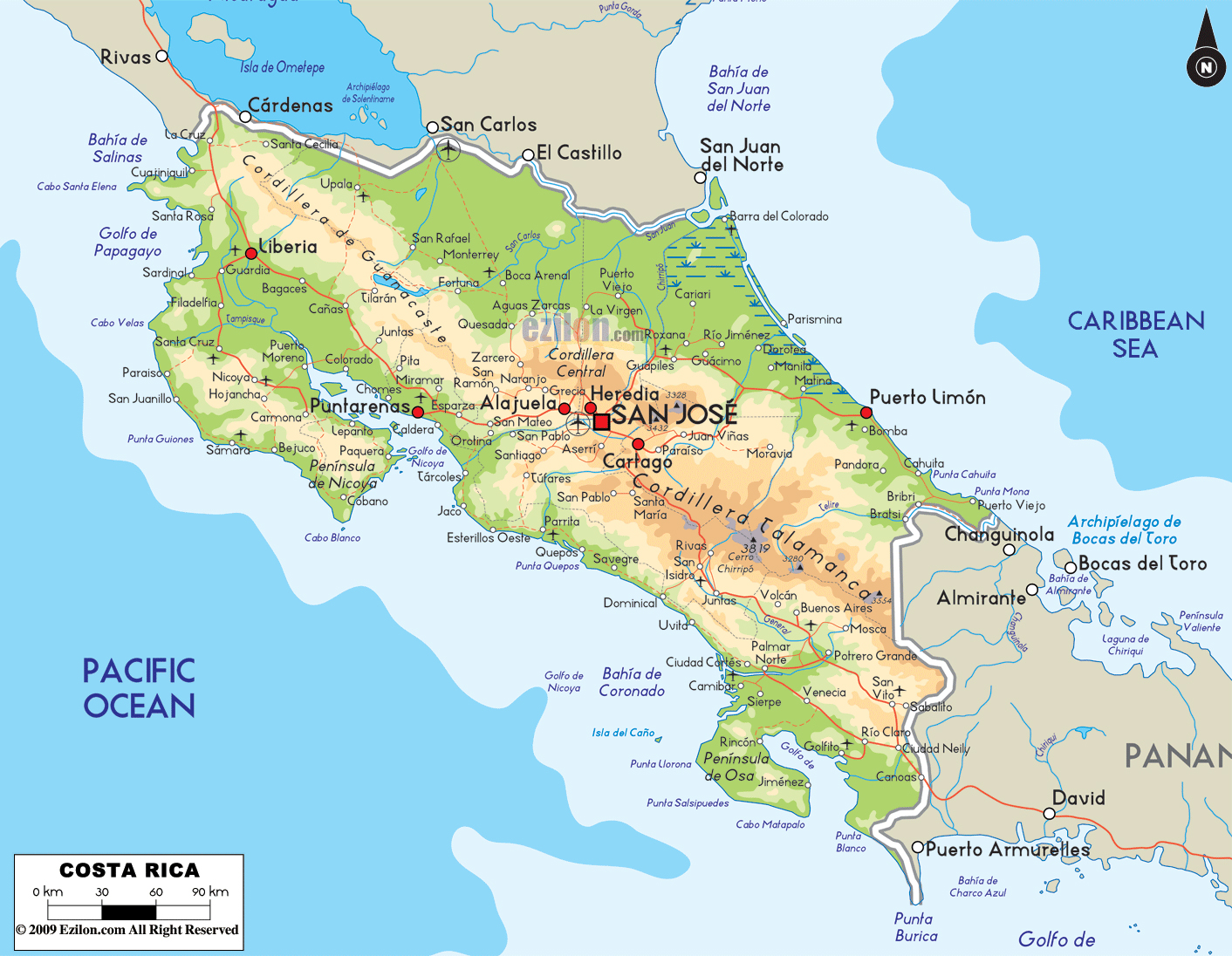 Large physical map of Costa Rica with roads, cities and airports ...