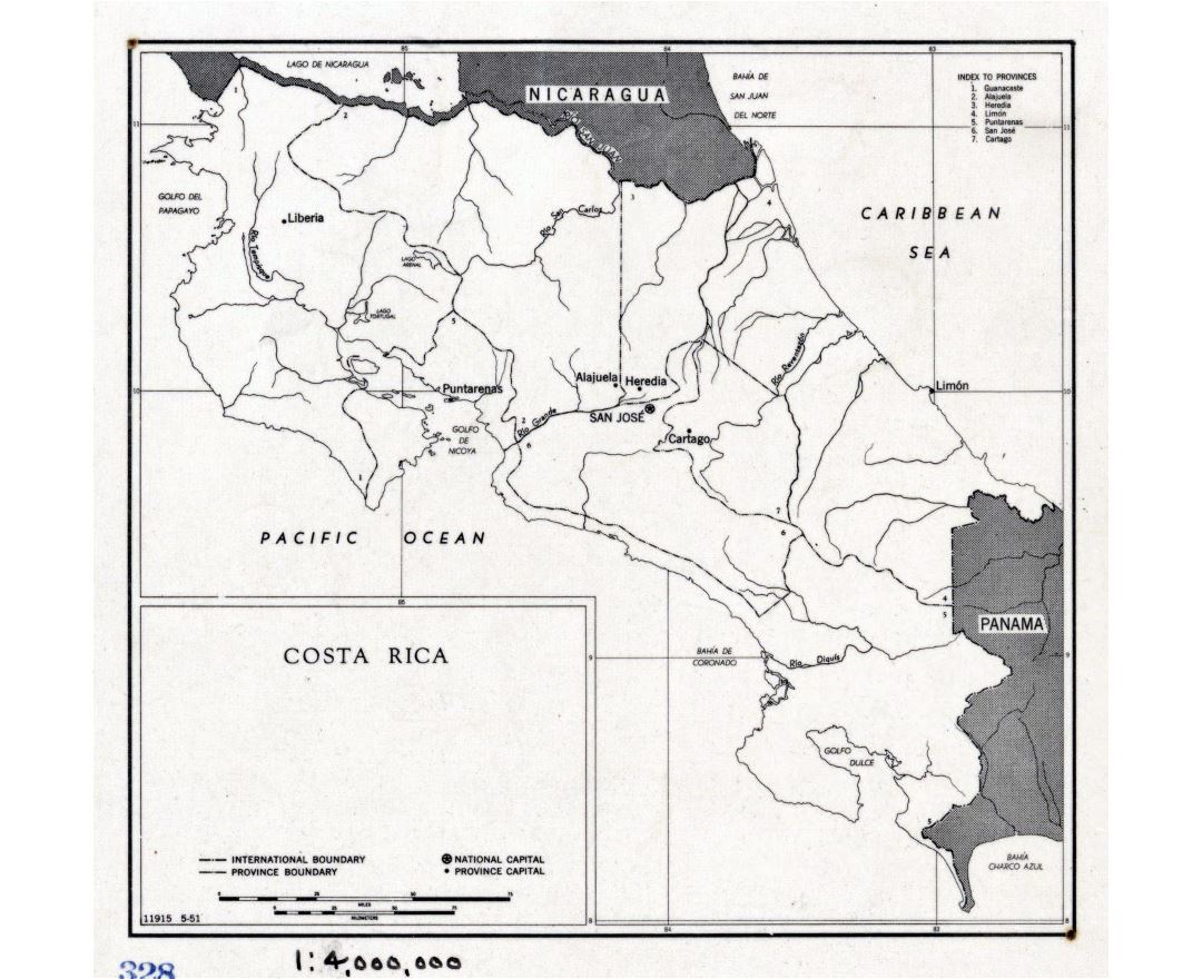 Large political and administrative map of Costa Rica - 1951