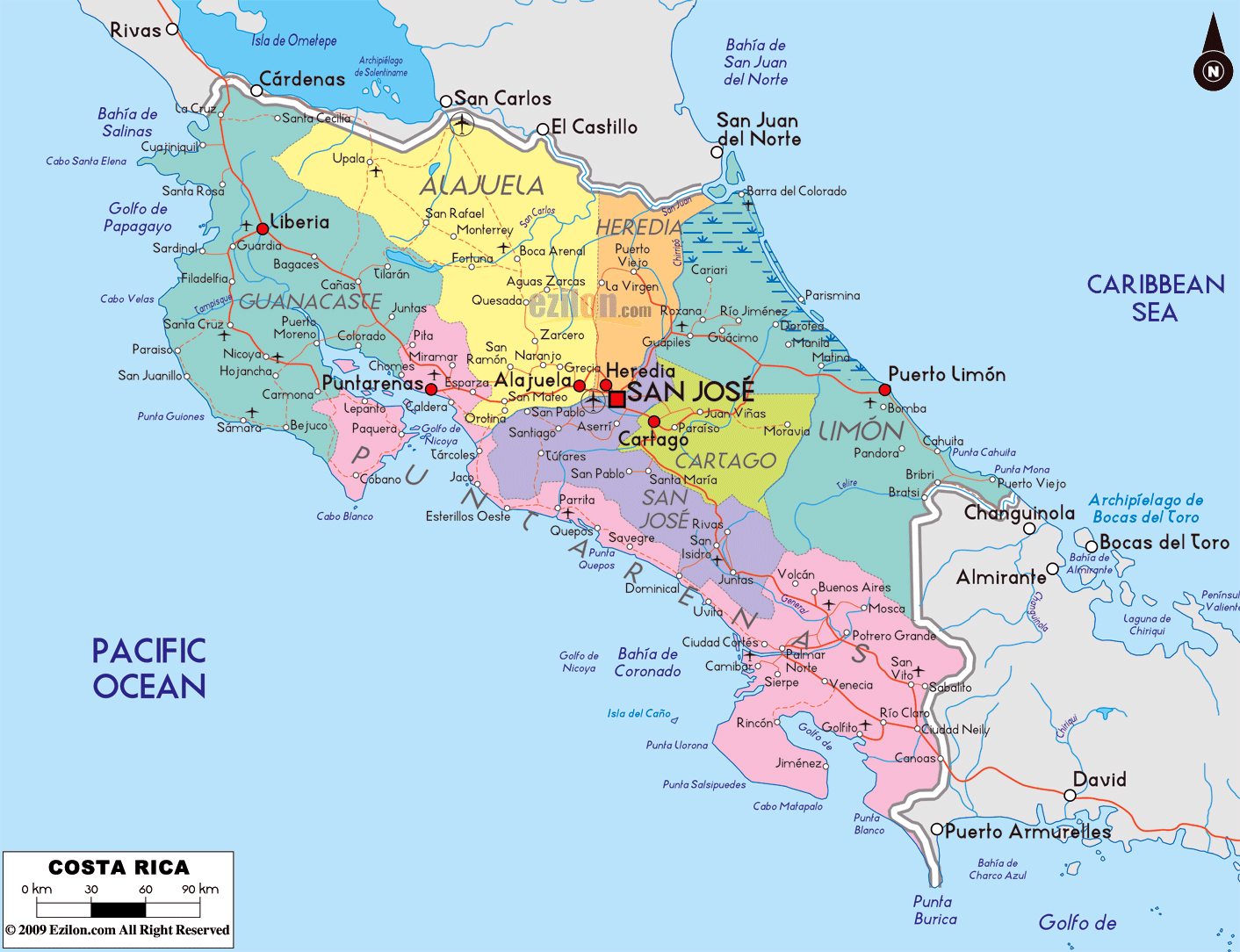 Large political and administrative map of Costa Rica with ...
