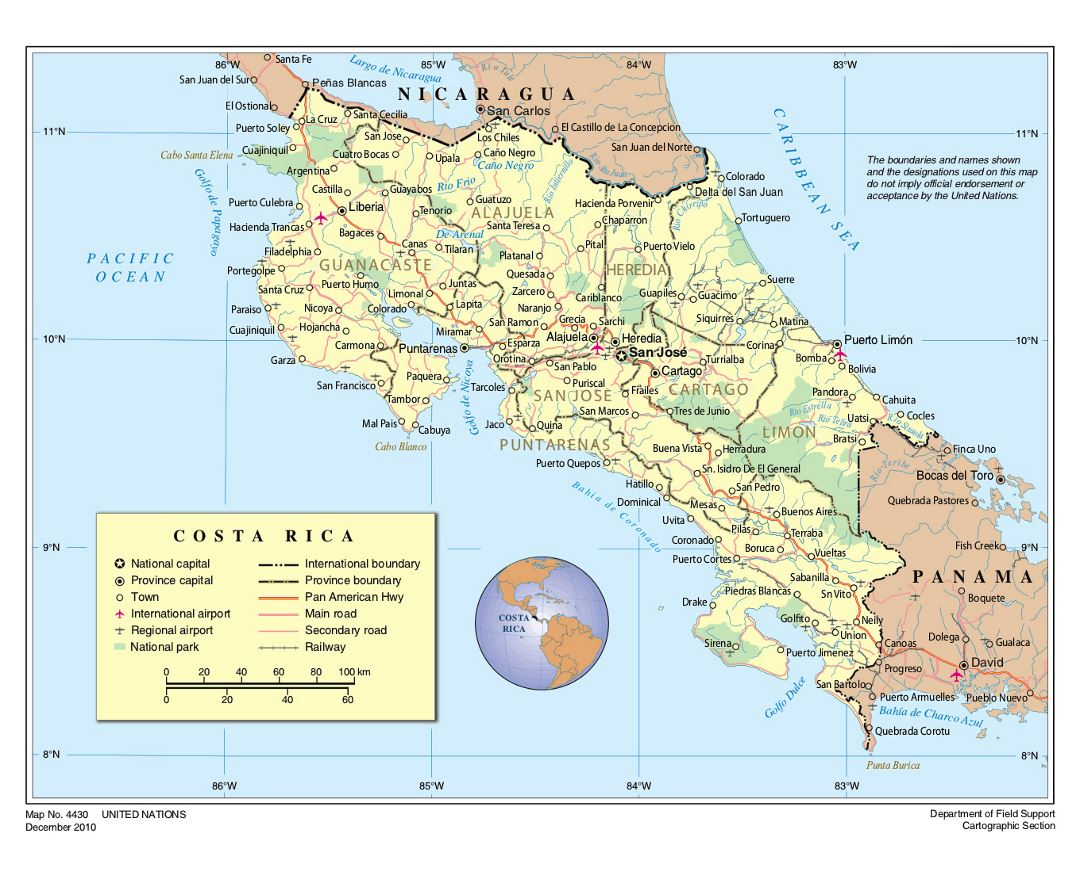 Large political and administrative map of Costa Rica with roads, cities, national parks and airports