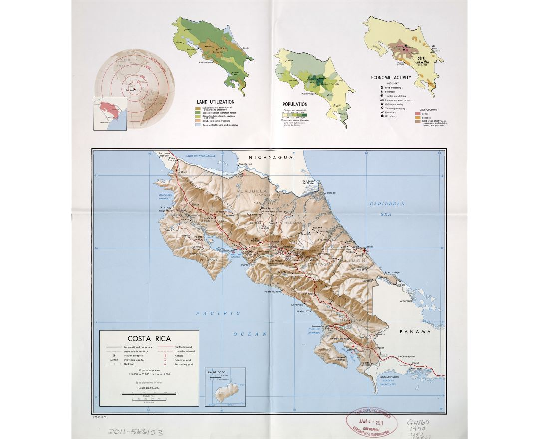 Large scale country profile map of Costa Rica - 1970