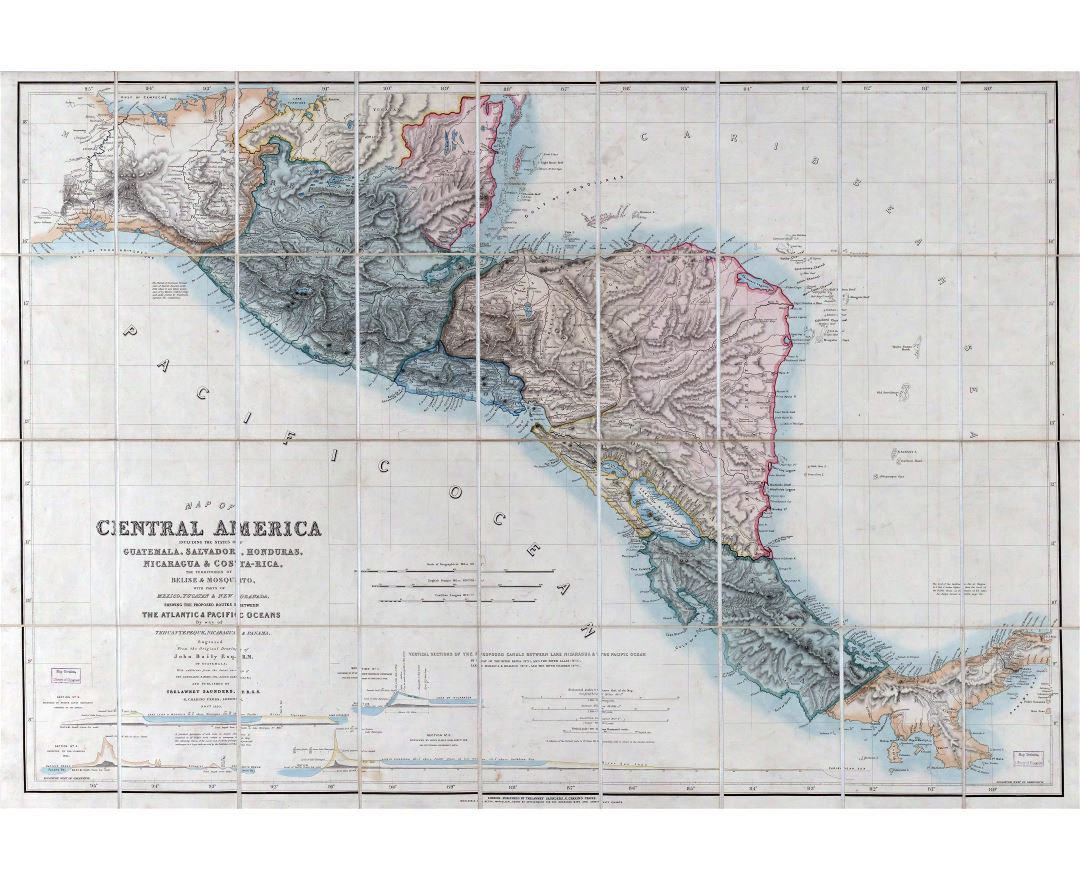 Large scale old map of Central America including the states of Guatemala, Salvador, Honduras, Nicaragua and Costa Rica, the territories of Belise and Mosquito with parts of Mexico - 1850