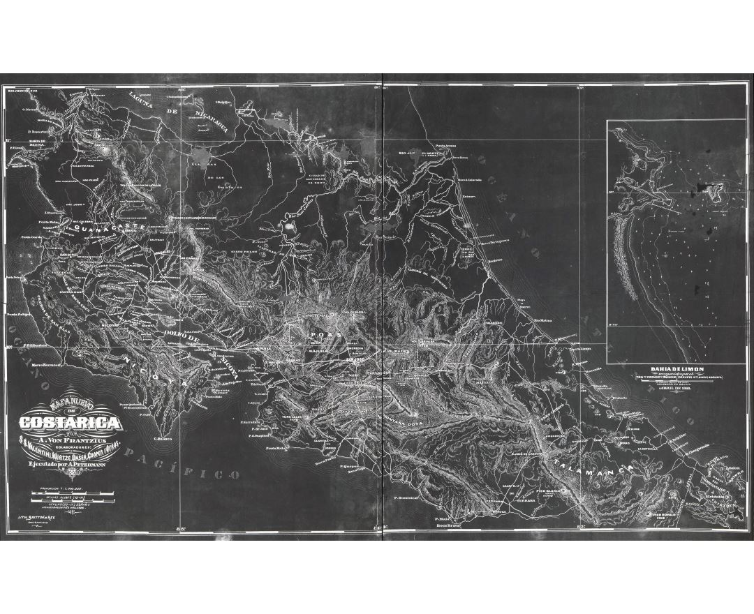 Large scale old map of Costa Rica with relief - 1868