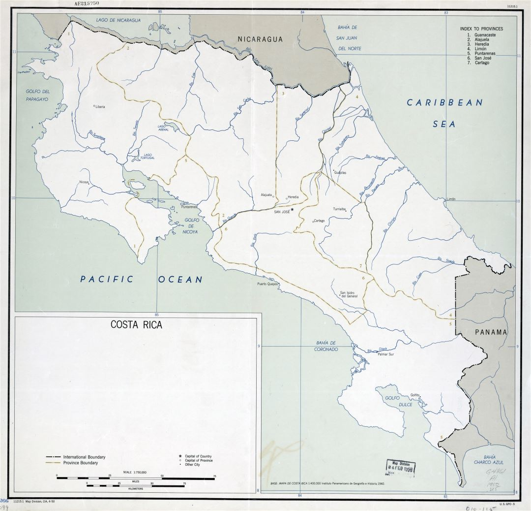 Large scale political and administrative map of Costa Rica with major cities - 1950