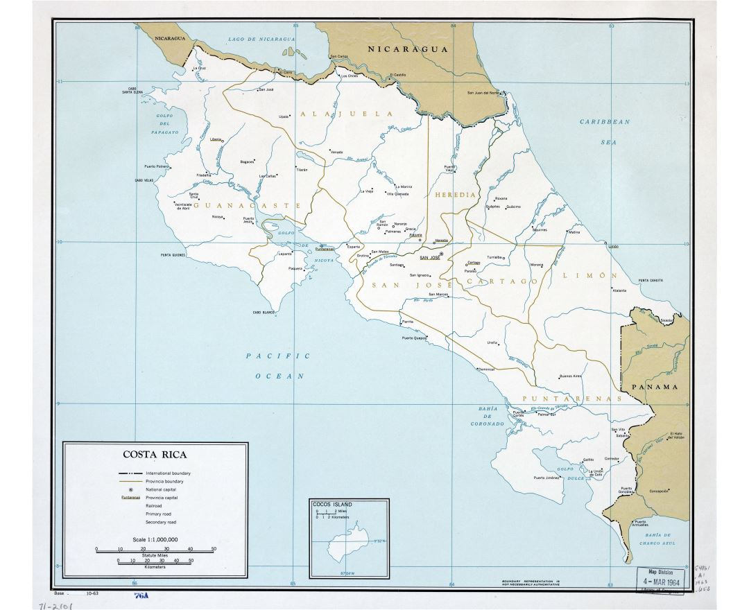 Large scale political and administrative map of Costa Rica with major cities - 1963