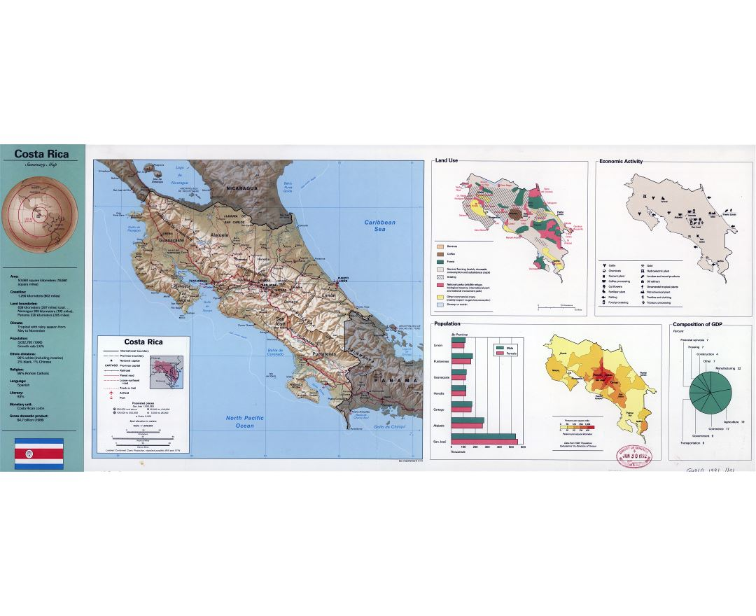 Large scale summary map of Costa Rica - 1991