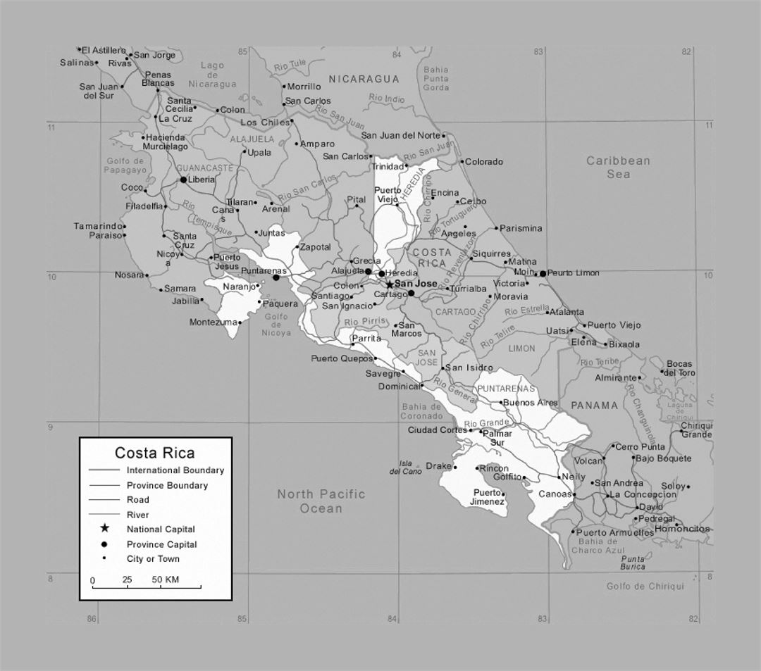 Political and administrative map of Costa Rica