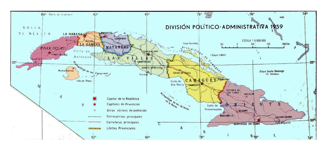 Detailed administrative map of Cuba - 1959