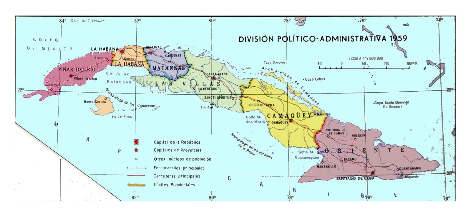 Detailed administrative map of Cuba - 1959 | Cuba | North ...