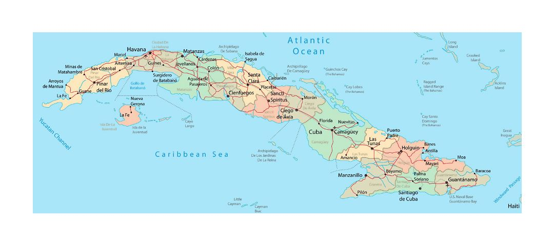 Detailed administrative map of Cuba with roads, railroads ...
