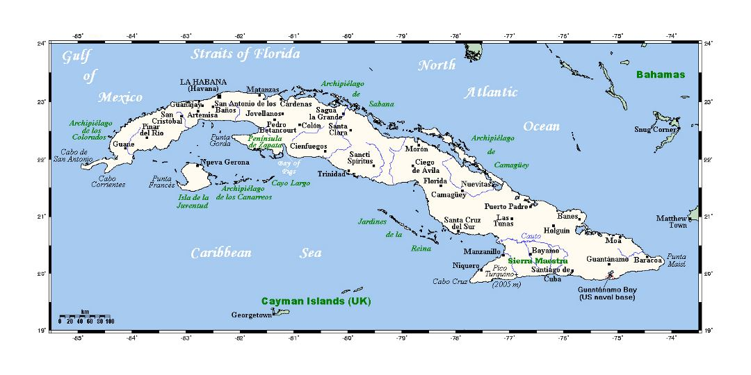 Detailed map of Cuba with cities