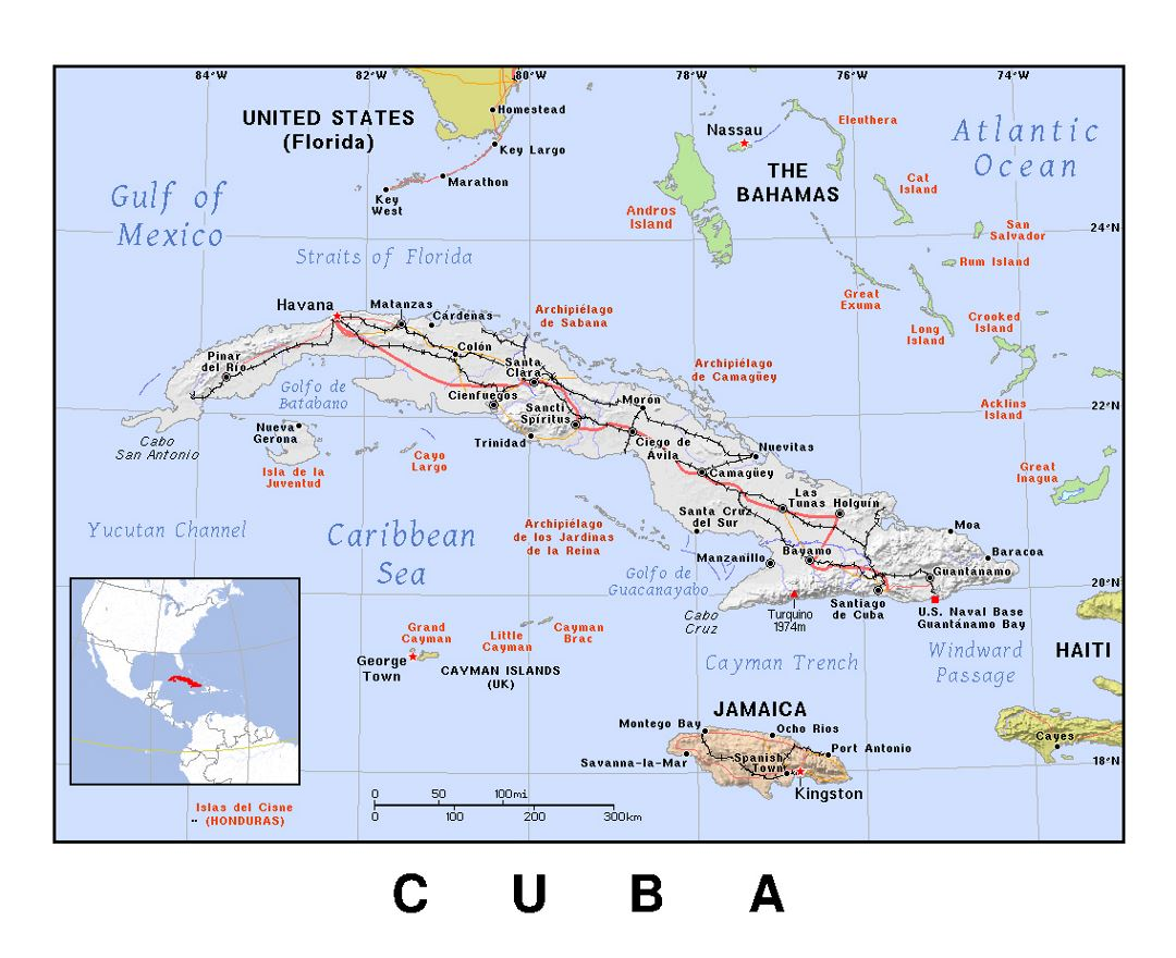 Detailed political map of Cuba with relief