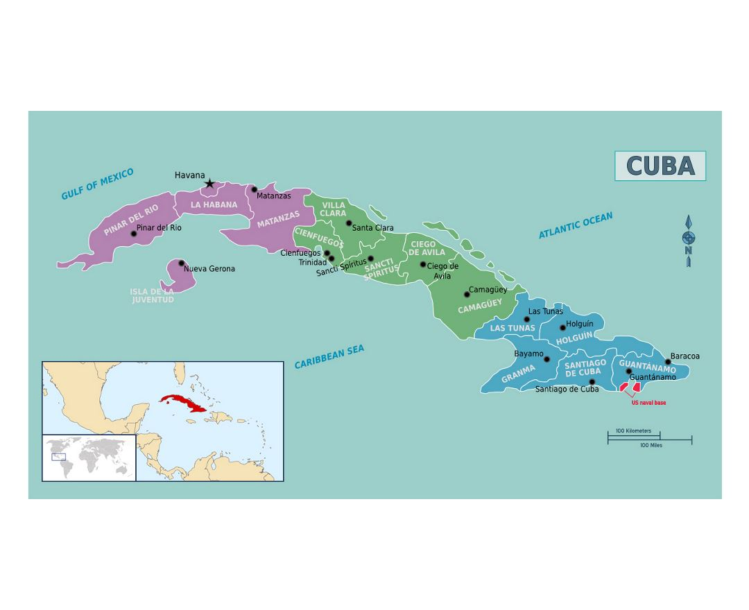 Detailed regions map of Cuba
