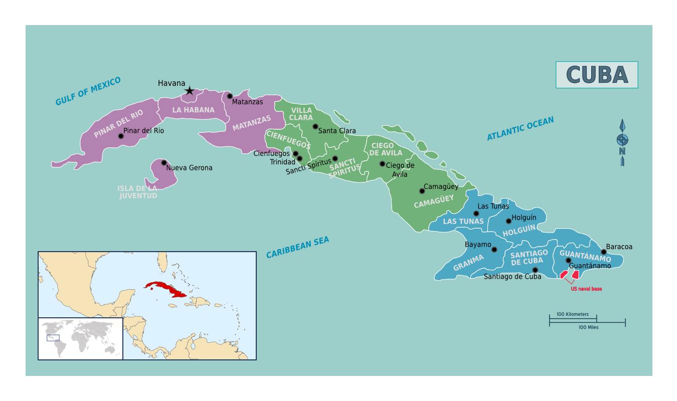 Detailed regions map of Cuba Cuba North America Mapsland