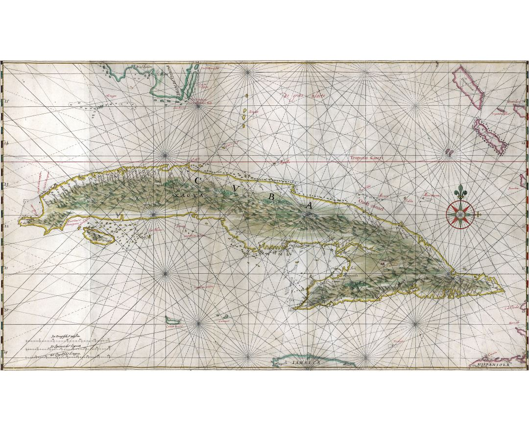 Large detailed antique map of Cuba with relief