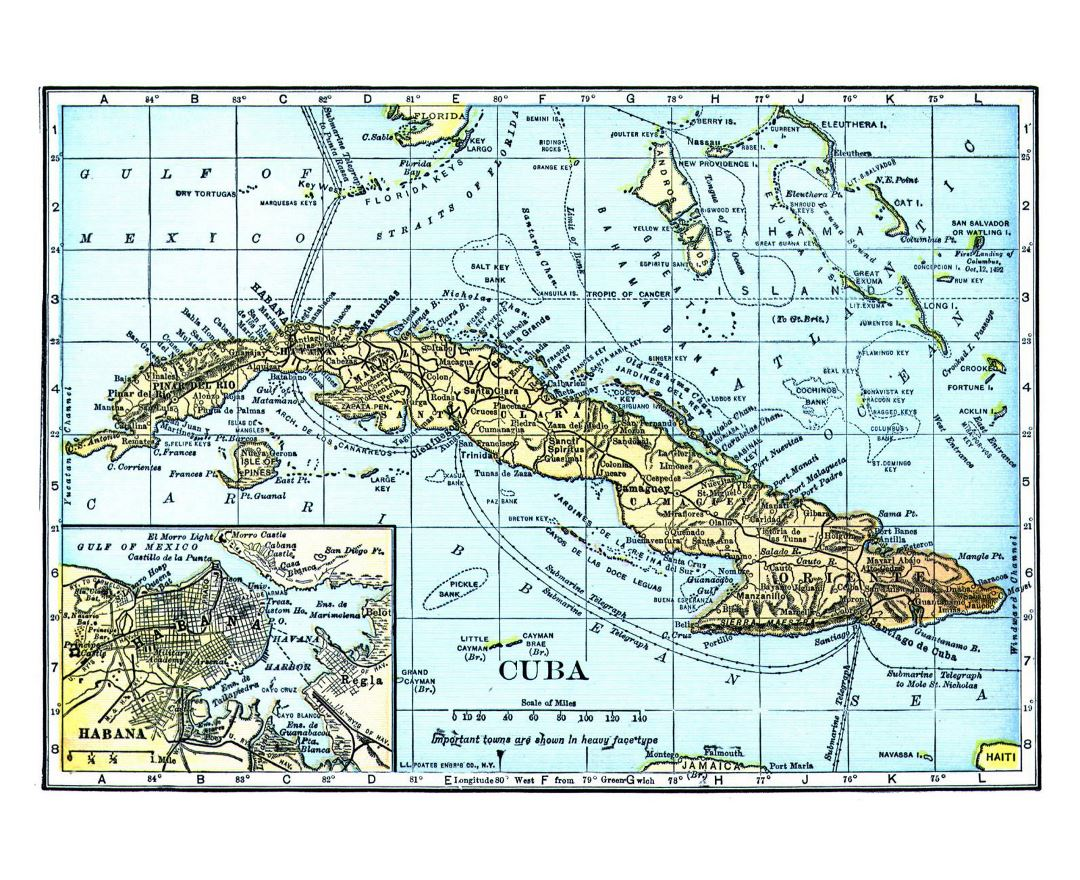 Large detailed old map of Cuba with other marks