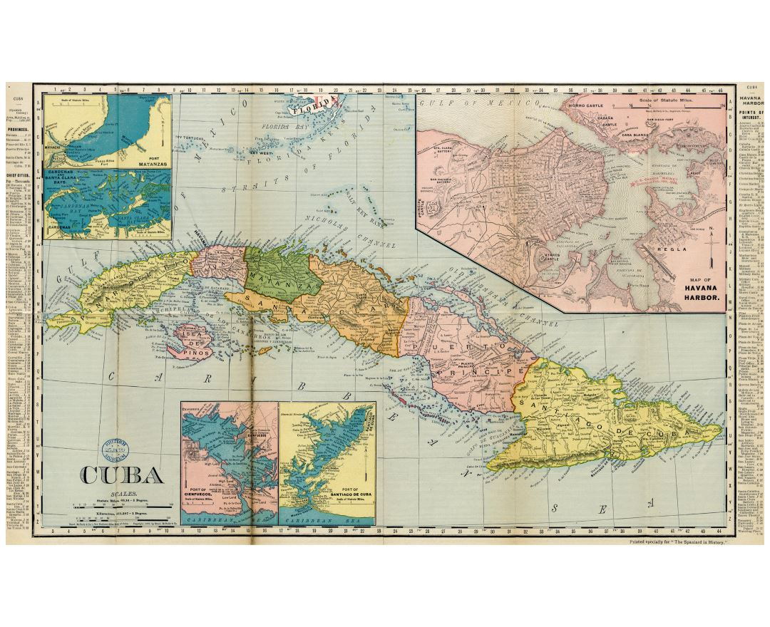 Large detailed old political and administrative map of Cuba with other marks - 1898