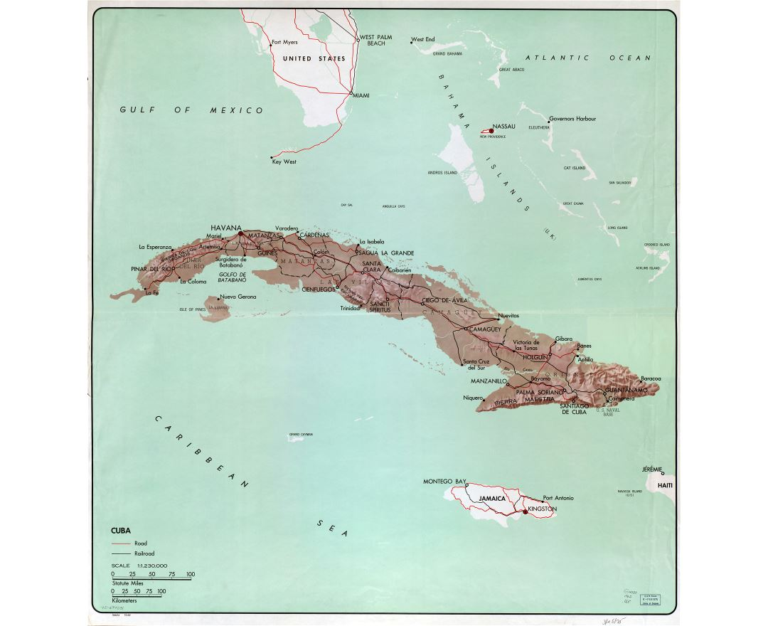 Large detailed political and administrative map of Cuba with relief, roads, railroads and major cities - 1962