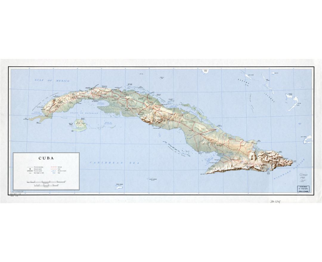 Large detailed political and administrative map of Cuba with relief, roads, railroads, cities and other marks - 1960