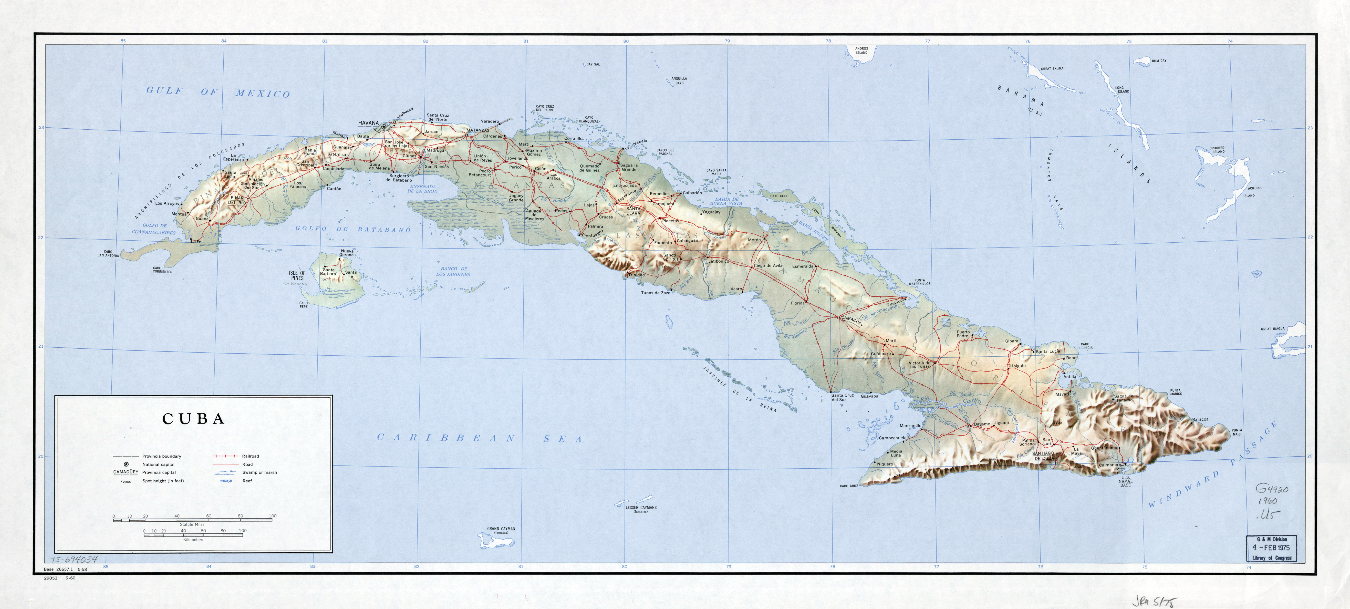 Large detailed political and administrative map of Cuba with relief ...