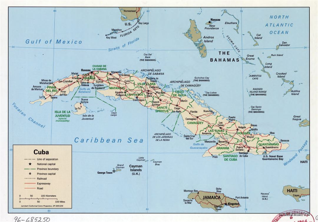 Large detailed political and administrative map of Cuba with roads, railroads and major cities - 1994