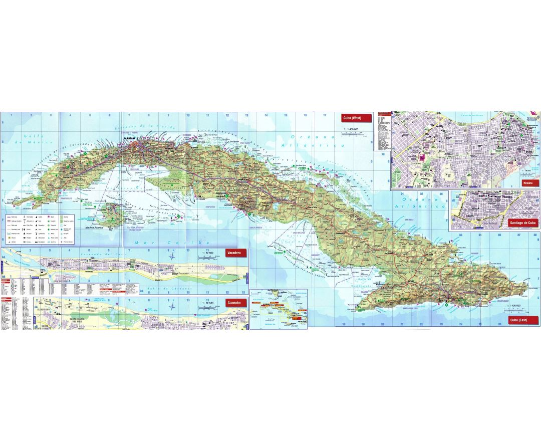 Large detailed road map of Cuba with other marks